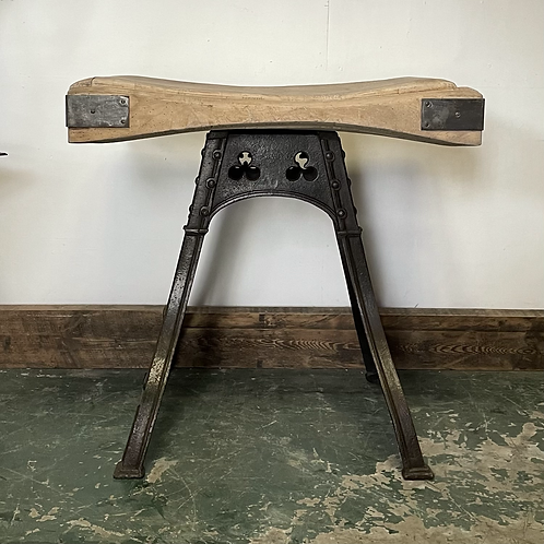A Vintage Butchers Block on a Victorian Cast Iron Base