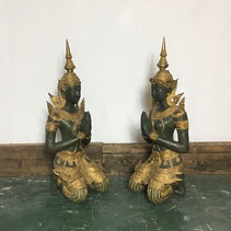 A Pair of Large Decorative Bronze and Gilt Thai Teppanom