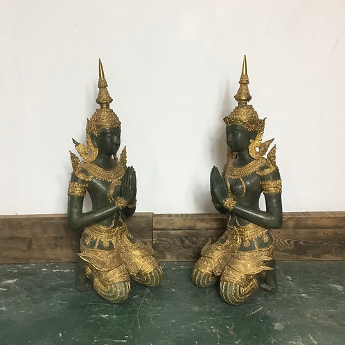 Pair of Large Bronze and Gilt Thai Teppanom Angels