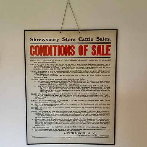 Vintage Cattle Auction Condition of Sales Sign