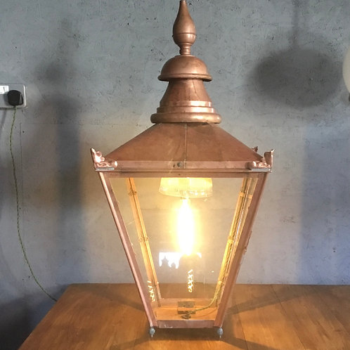 Large Copper Table Lantern Lamp