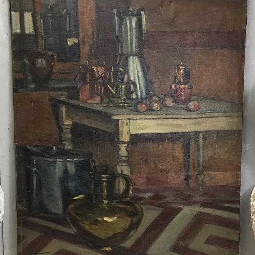 Oil on Canvas - Interior Scene