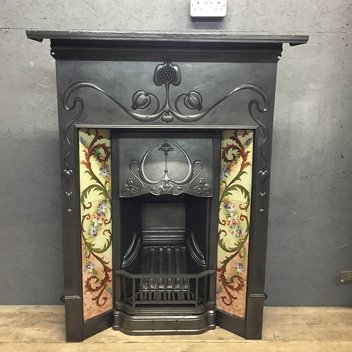 Art Nouveau Cast Iron Fireplace