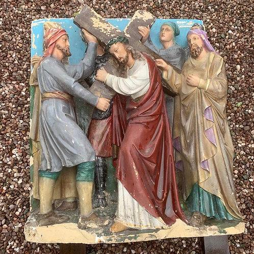 19th C. Carved Stone Crucifixion Scene