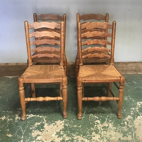 Set of 4 Ash Ladderback Dining Chairs