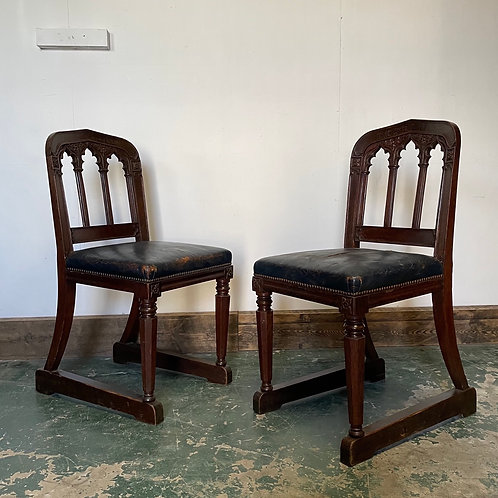 Pair of 19th Century Oak Ceremonial Chairs