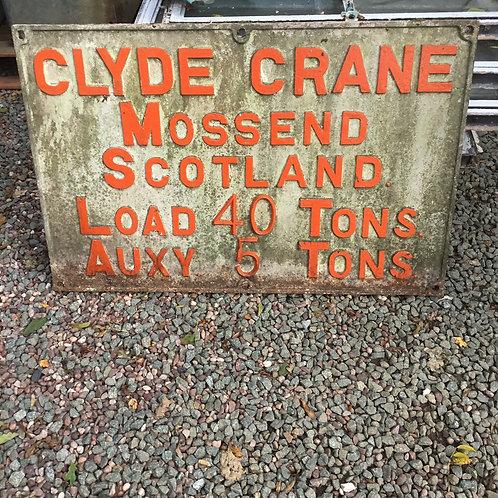 Scottish Cast Iron Crane Sign