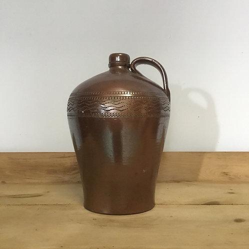 Victorian Glazed Stoneware Flagon Pitcher Confit