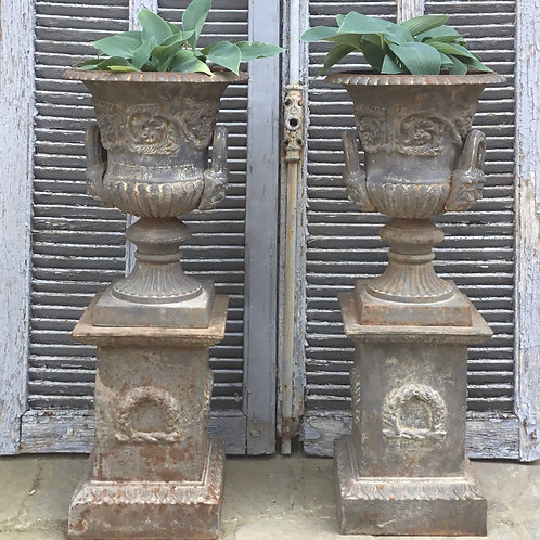 Pair of 20th C. Cast Iron Garden Urns