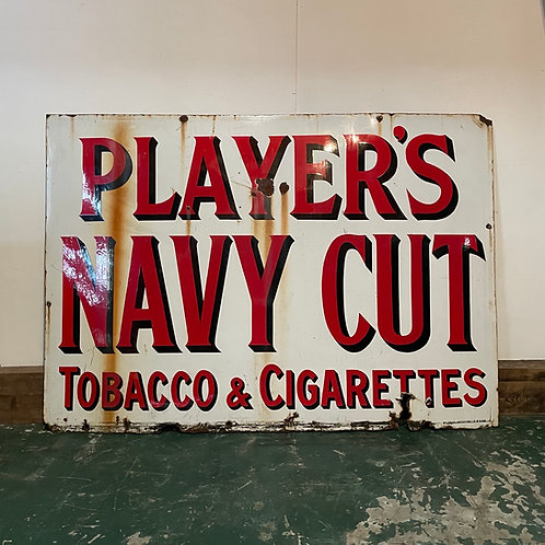 Vintage Enamel Advertising Sign for Players Navy Cut Cigarettes and Tobacco