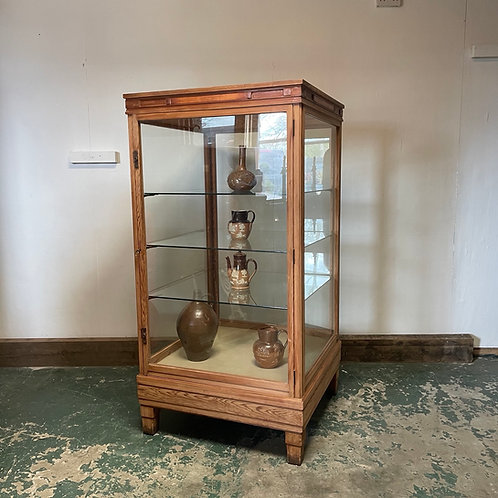 1930's Pine Museum Display Cabinet
