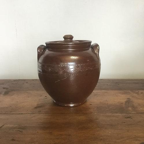 Vintage Glazed Stoneware Kitchen Pot