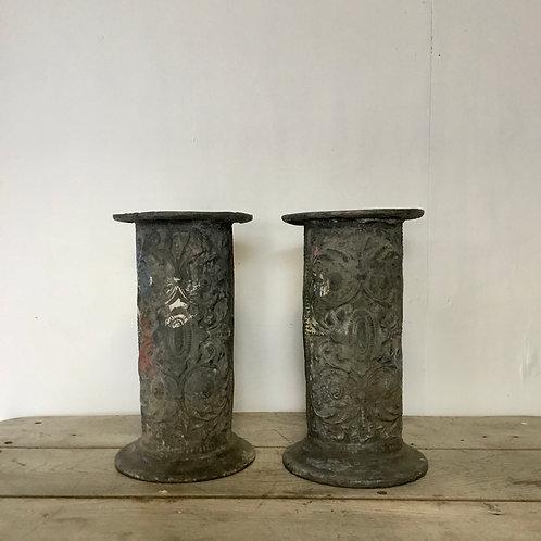 19th C. Lead Display Columns