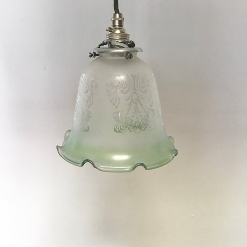 Edwardian Etched Glass Pendant Light
