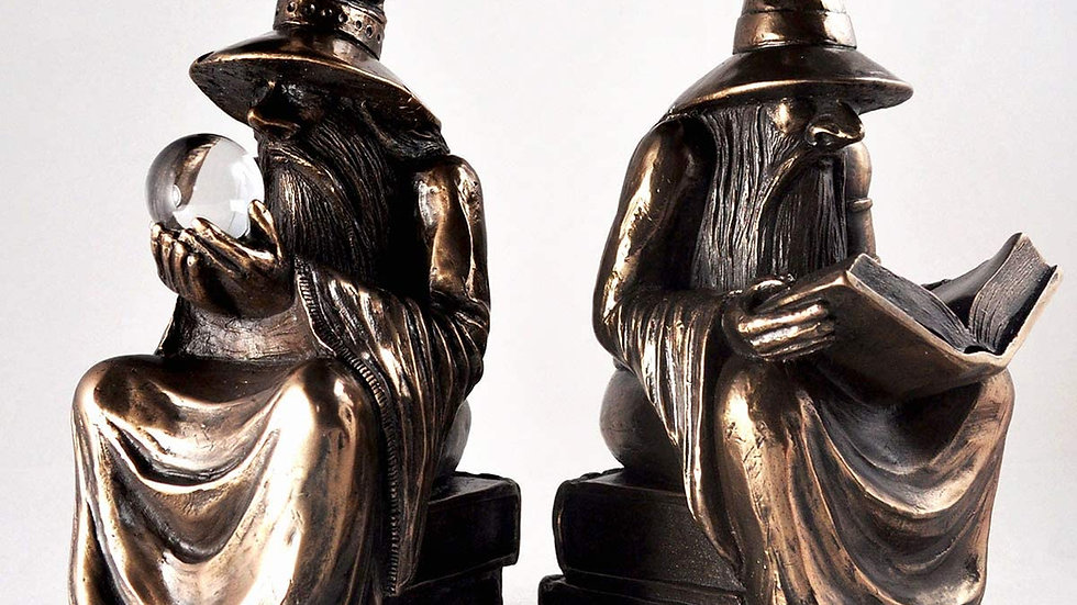 Bronze Wizard Bookends