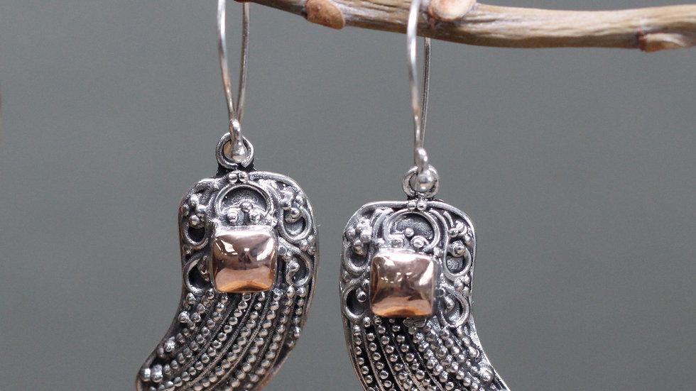 Silver& Gold Angel Wing Earrings