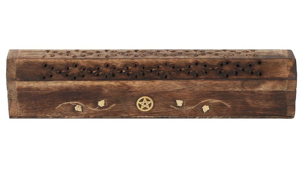 Mango Wood Incense Box With Brass Pentagram