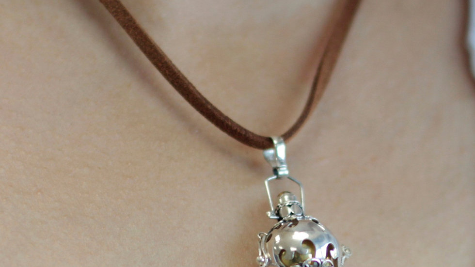 Silver Angel Bell Necklace Brown & Protection