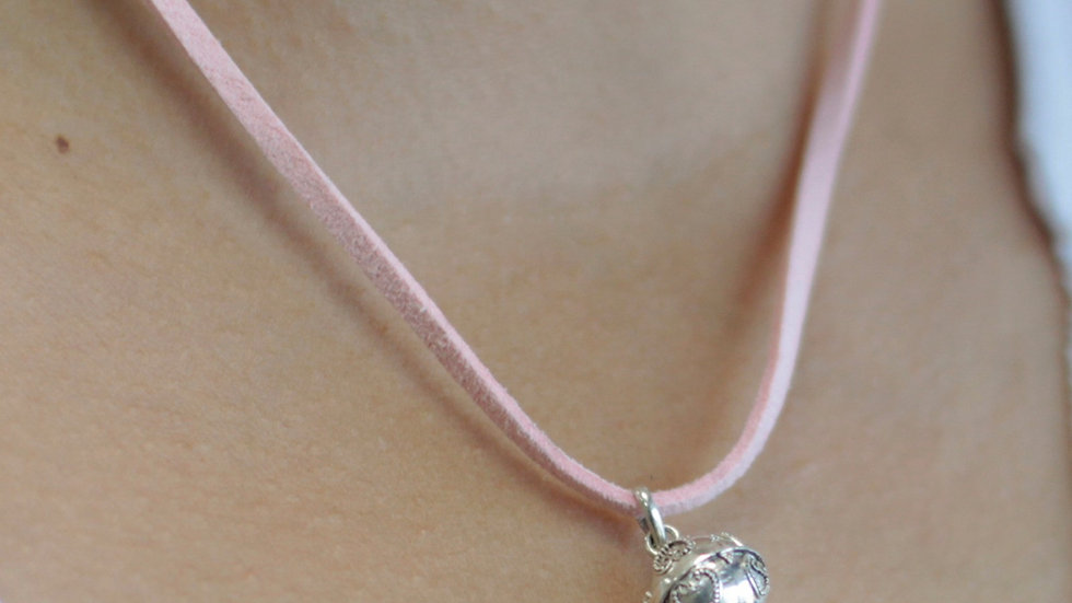 Silver Angel Bell Necklace Pink & Love