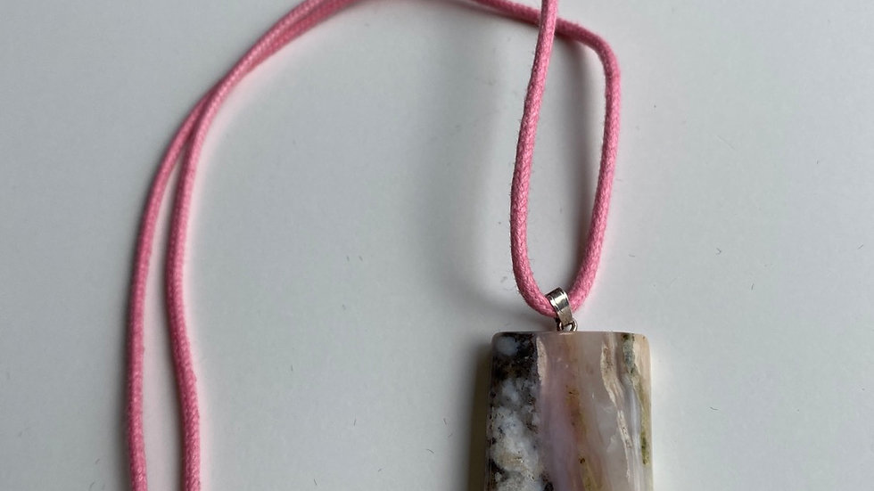 Pink Opal Pendant On Pink Cord