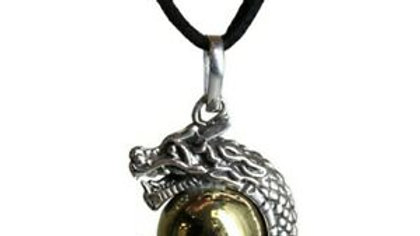 Silver Animal Bell Necklace Dragon