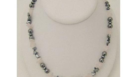 Rose Quartz & Hematite Magnetic Necklace