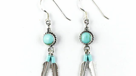Shield Earrings With Silver Feathers and Turquiose