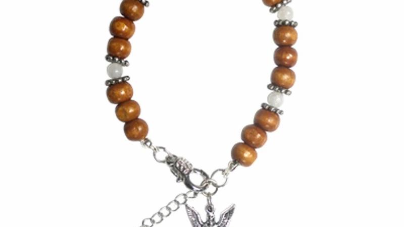 Archangel Gabriel Bracelet With Wood & Moonstone Beads