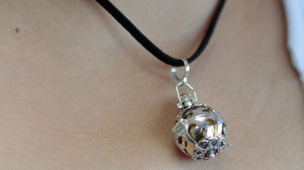 Silver Angel Bell Necklace Black & Dreams