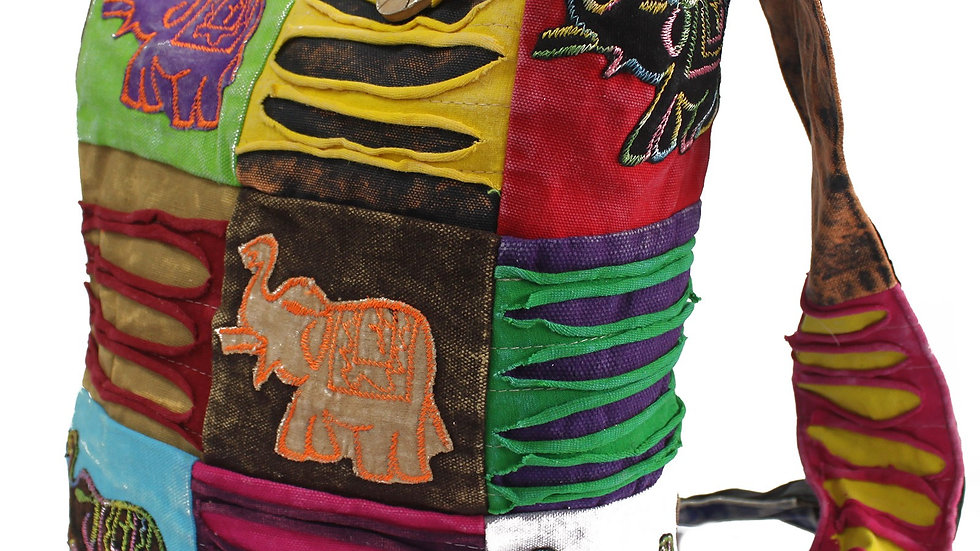 Ethnic Chocolate & Elephant Sling Bag