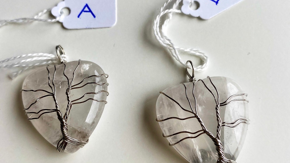 Quartz Crystal Heart Tree Of Life Wrap Pendant