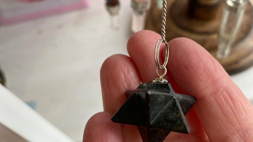 Black Tourmaline Merkaba Pendulum with velvet pouch & instructions