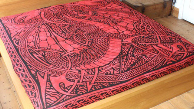 Red Dragon Bedspread, Rug and Wallhanging