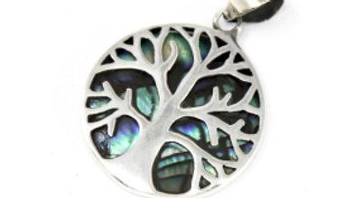 Tree of life Silver Abalone Shell Pendant