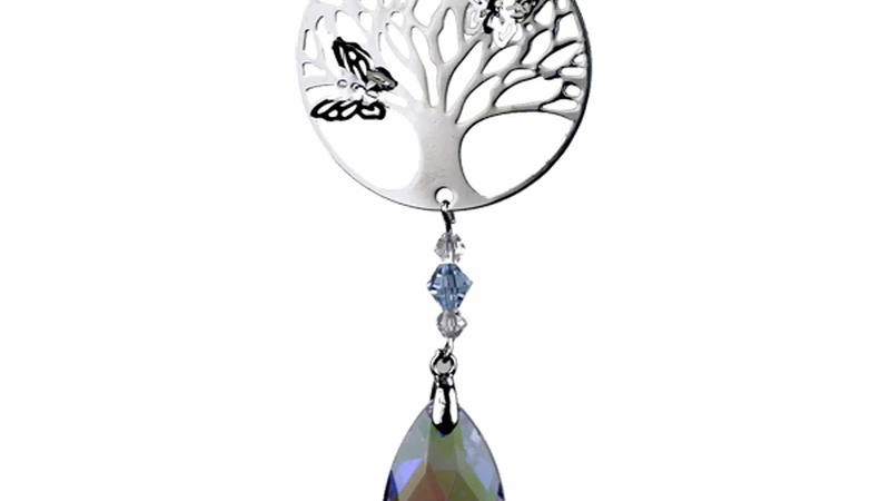 Tree of Life Butterfly Crystal Hanger