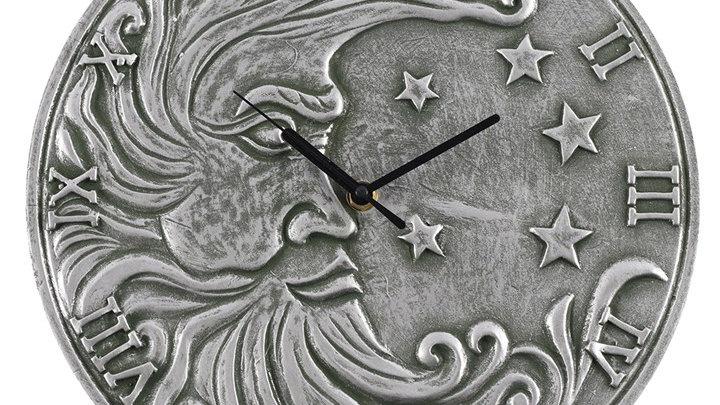 Silver Effect Terracotta Half Moon Clock