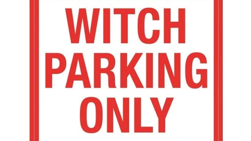 Witch Parking Metal Sign