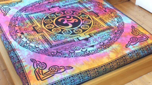 Tie Dyed Om Bedspread, Rug & Wallhanging