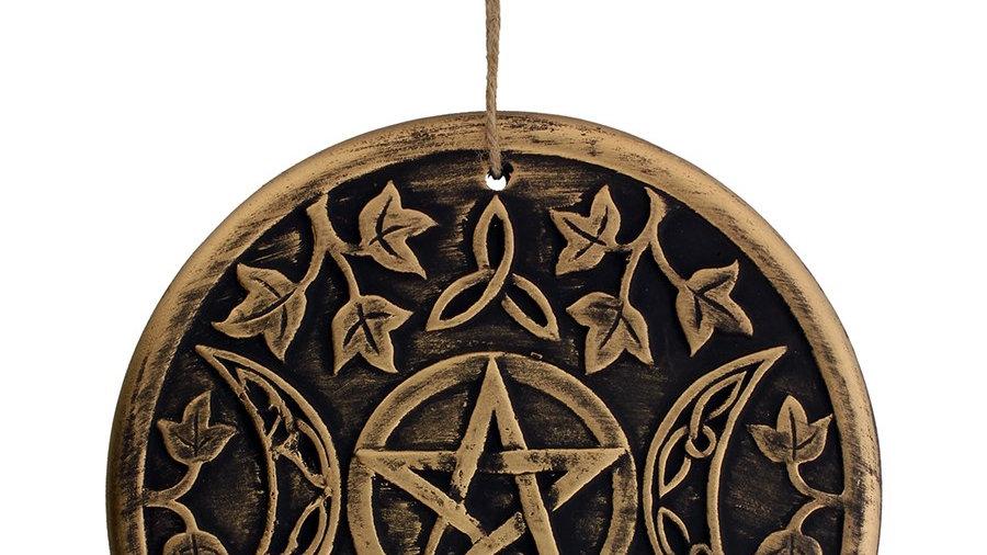 Pentagram Triple Moon Terrocota Plaque