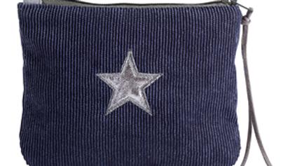 Navy Corduroy Star Purse