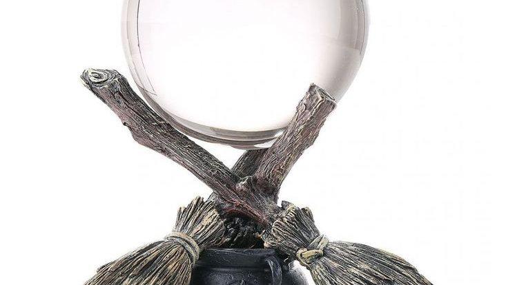 Broomstick Ball Holder & Crystal Ball 11cm