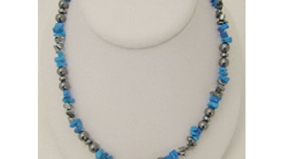 Blue Howlite & Hematite Magnetic Necklace