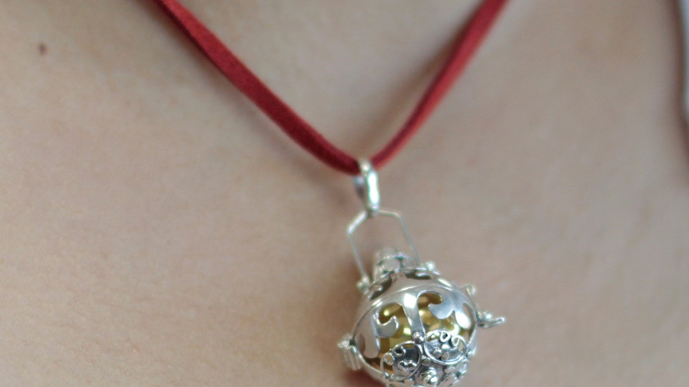 Silver Angel Bell Necklace Red & Magic
