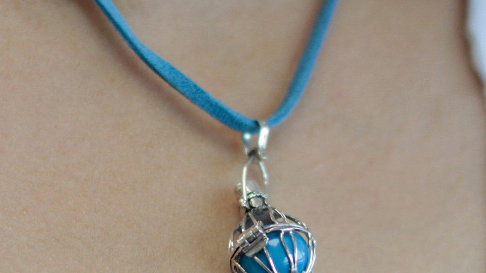 Silver Angel Bell Necklace Blue & Creativity