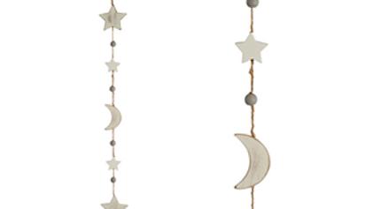 Vintage White Moon & Stars Garland