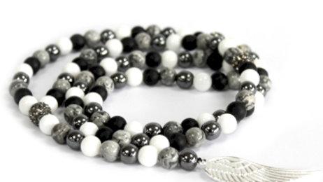 Angel Wing / Grey Agate Gemstone Necklace