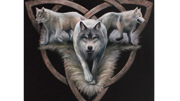 Wolf Trio Anne Stokes Canvas Picture 25cm X 19cm