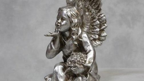 Antique Silver Sitting Angel Figure