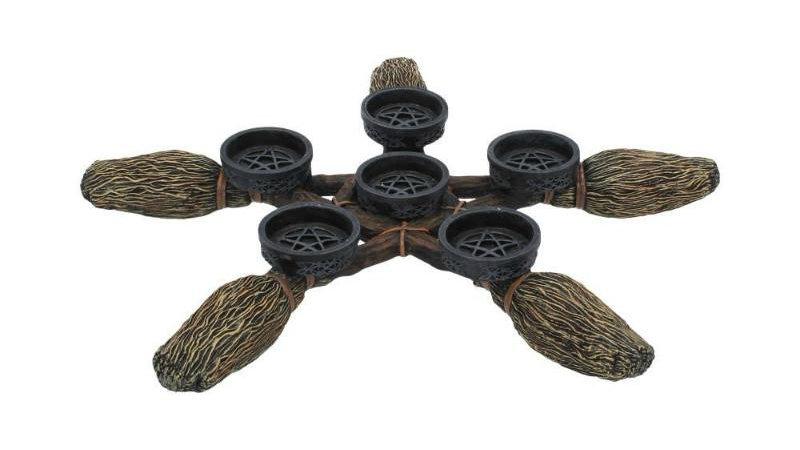 Broomstick Pentagram Tealight Holder
