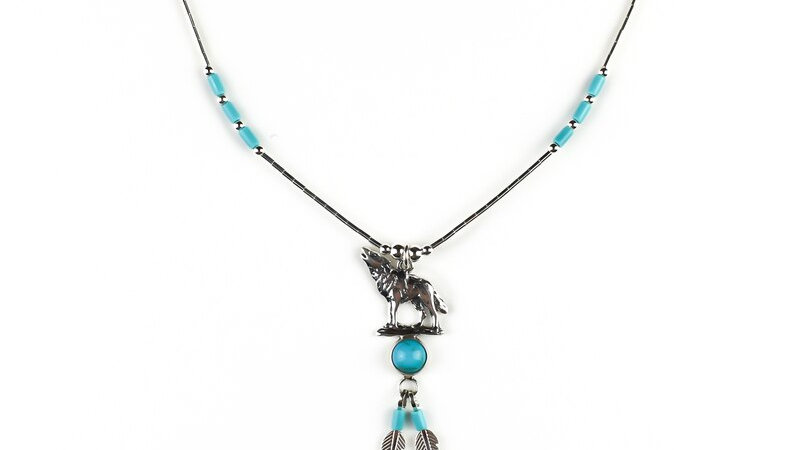 Silver Wolf Necklace With Turquoise and Silver Feathers